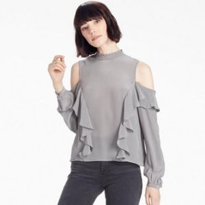 Lucky Brand Gray cold shoulders ruffle blouse M